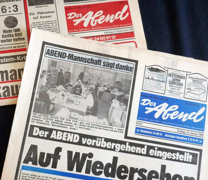 Der Abend: eingestellter Zeitungstitel. Foto: Ulrich Horb