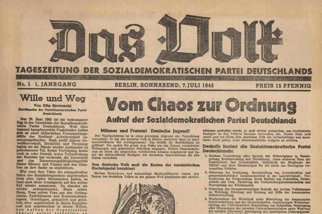 """Erstausgabe der SPD-Zeitung """"Das Volk"""" 1945. Foto: Ulrich Horb"""