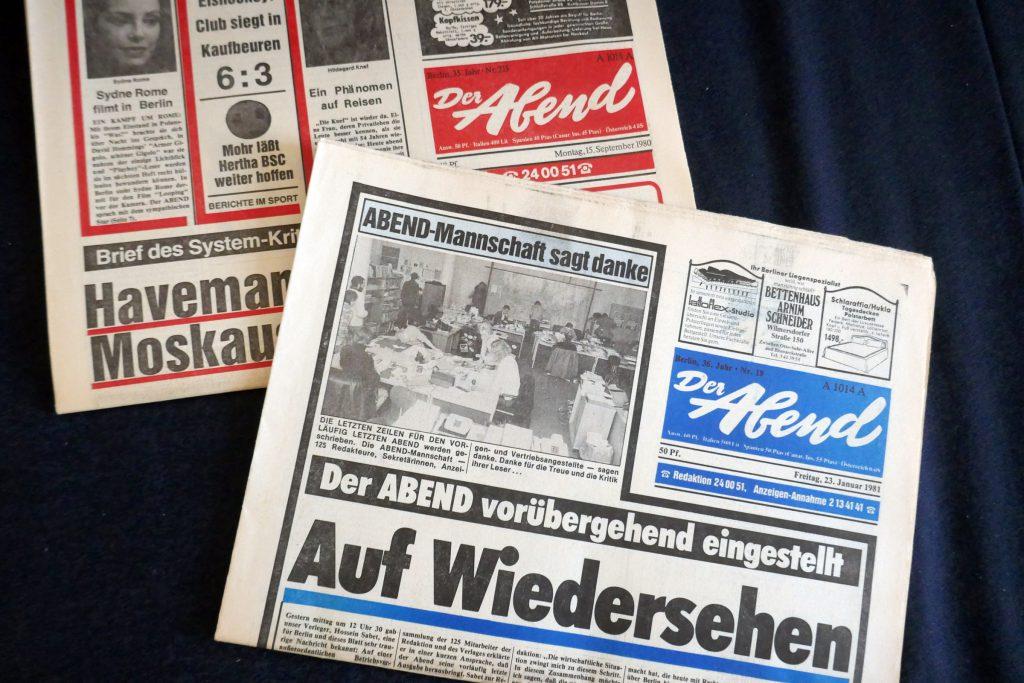 """Eingestellter Zeitungstitel: """"Der Abend"""". Foto: Ulrich Horb"""