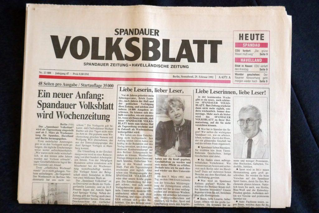 """""""Volksblatt"""" - letzte Ausgabe als Tageszeitung. Foto: Ulrich Horb"""