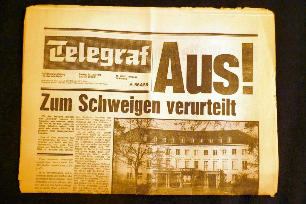 """Eingestellte Tageszeitung """"Der Telegraf"""" - letzte Ausgabe. Foto: Ulrich Horb"""