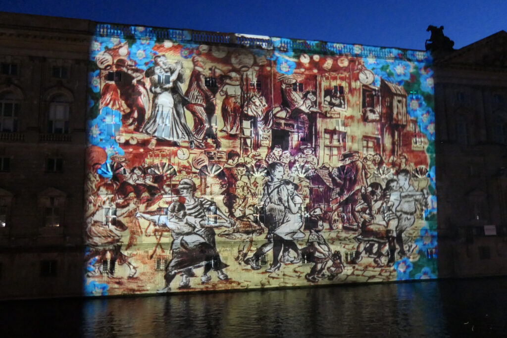 Lichterfest 2021: neuer Marstall mit Zille-Motiv. Foto: Ulrich Horb